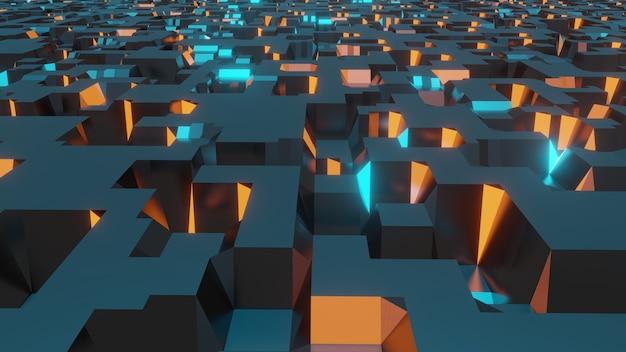 3d-rendering futuristische science-fiction-umgebung, abstrakter geometrischer hintergrund