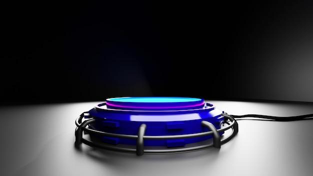 3d-rendering futuristischer runder sockel oder palettenständer oder leere palette zukünftige leere bühne mit glimmlicht