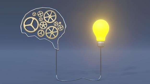 3d-rendering, gehirnmechanismus und getriebe mit ideenbirne