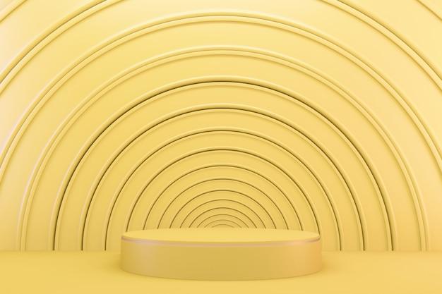 3d-rendering. gelb moderne minimalistische mock-up-gelb-podium-abstrakte zylinderanzeige.