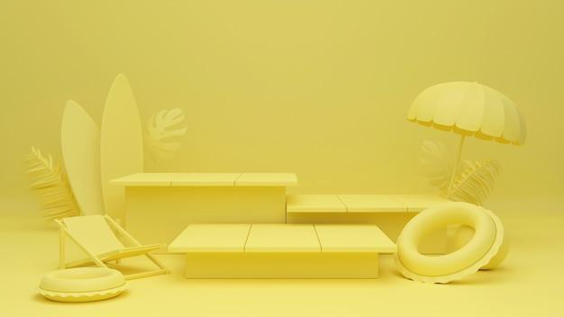 3d-rendering gelbe thema box podium palmblätter mit sommer hintergrund.