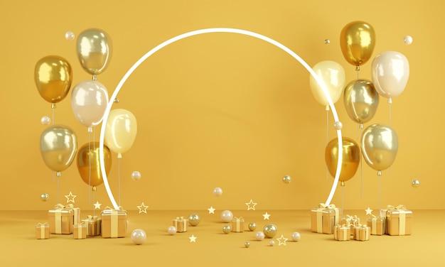3d-rendering gelbe themenballons mit licht- und papierkopierraum für text und geschenk im hintergrund