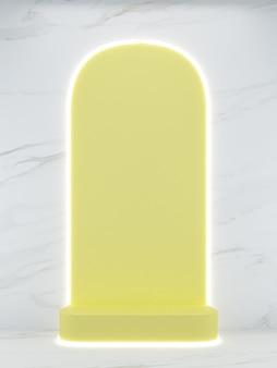 3d-rendering gelbes quadratisches podest auf weißem marmorhintergrund und lichtlinie