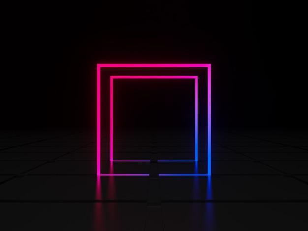 3d-rendering geometrischer neonrahmen quadratisches licht mit farbverlauf