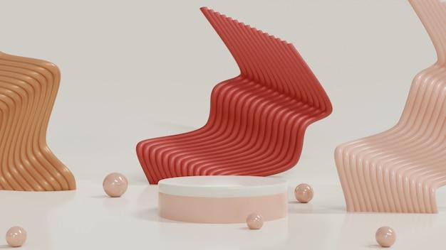 3d-rendering geometrisches zylinderpodium in minimalem design bühnenmodell-schaufenster für produktbanner-verkaufspräsentation kosmetikshop für verkaufsförderung und online-shopping-ping 3d-rendering-illustration