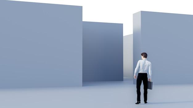 3d-rendering. geschäftsmann 3d, der vor dem labyrinth steht. erfolgskonzept