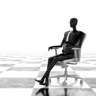 3d-rendering-geschäftsmann, der auf stuhl sitzt