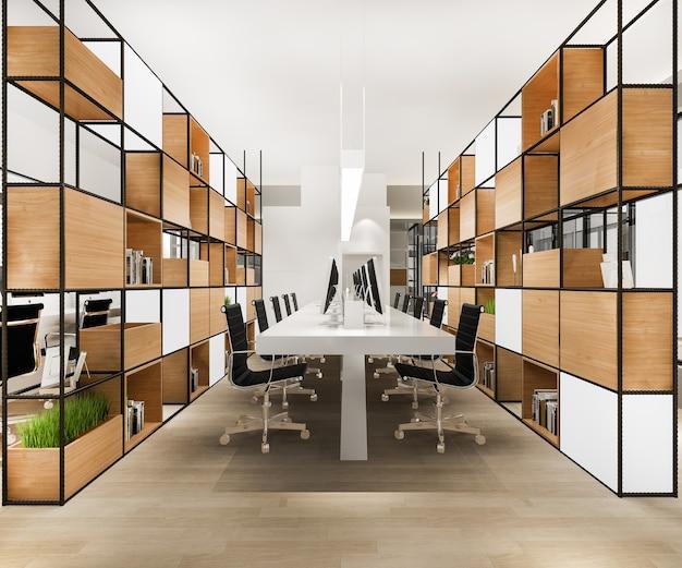 3d-rendering-geschäftstreffen und arbeitsraum im bürogebäude