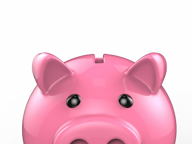 3d-rendering glänzend rosa sparschwein