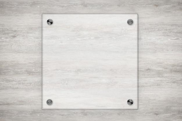 3d-rendering glasplatte oder acrylrahmen auf holzuntergrund