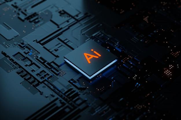3d-rendering glühende ai-chipsatz-cpu mit künstlicher intelligenz auf der leiterplatte. elektronik- und technologiekonzept.