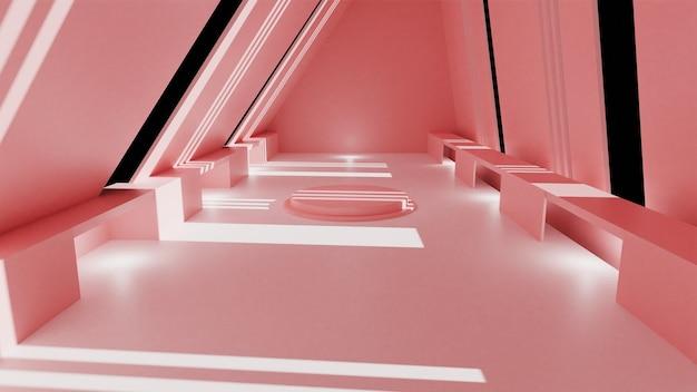3d-rendering, glühlinien, tunnel, neonlichter, virtuelle realität abstrakter hintergrund einfacher pastellrosa raum