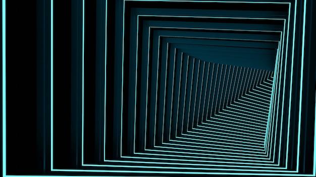 3d-rendering, glühlinien, tunnel, neonlichter, virtuelle realität abstrakter hintergrund stufenloses portal quadratisches kurvenspektrum blaue lasche helle lasershow