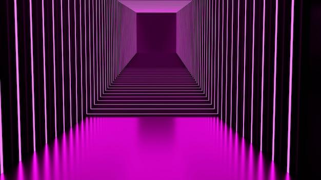 3d-rendering, glühlinien, tunnel, neonlichter, virtuelle realität abstrakter hintergrund stufenloses portal quadratisches kurvenspektrum hellrosa lasershow