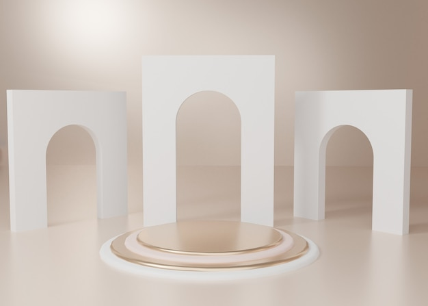 3d-rendering gold pastell display podium produkt stand
