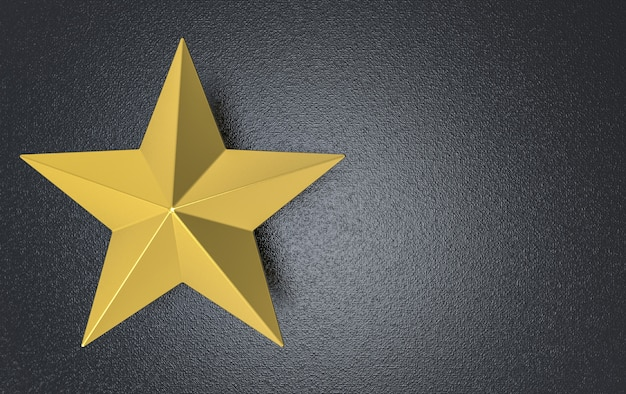 3d-rendering. goldener fünfzackiger stern auf dunklem zementwandhintergrund.