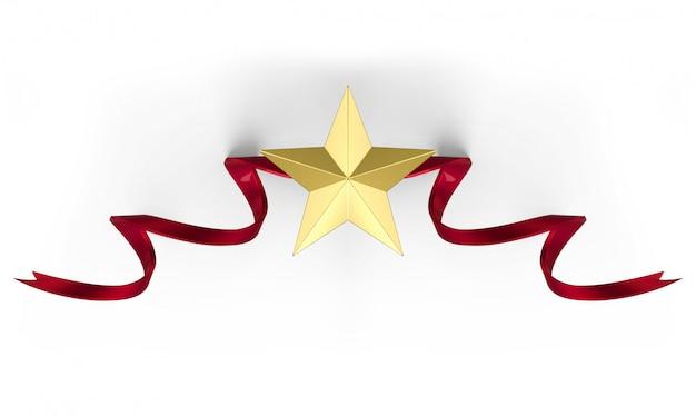 3d-rendering. goldener metallstern mit rotem band