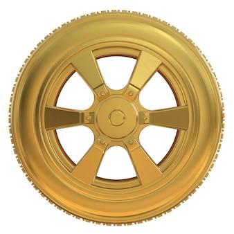 3d-rendering goldreifen mit goldrad isoliert auf weiß