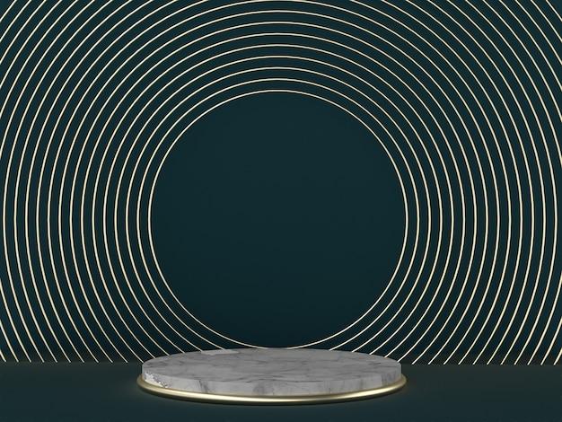 3d-rendering, grüner hintergrund des abstrakten art deco, runde goldene leere rahmen, marmorbeschaffenheit