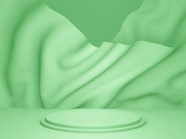 3d-rendering. grünes podium mit gewelltem hintergrund