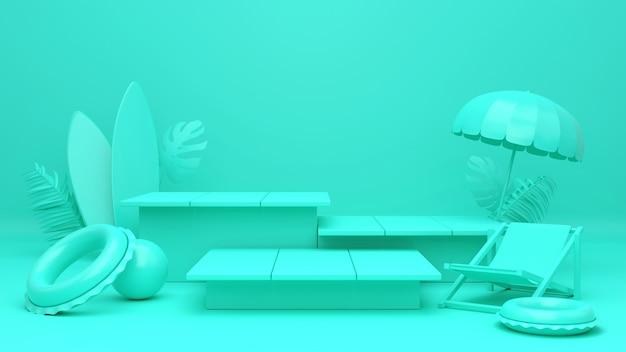 3d-rendering grünes thema box podium palmblätter mit sommer hintergrund.