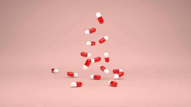 3d-rendering. gruppe von kaskadierenden roten und weißen medizinkapseln. pastellfarbener hintergrund