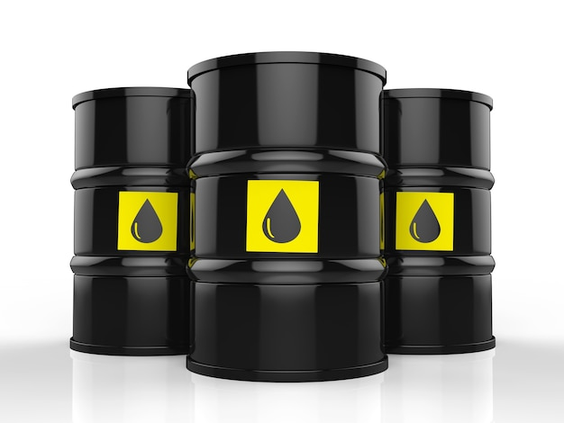 3d-rendering-gruppe von rohölfässern mit gelbem etikett