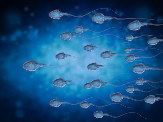 3d-rendering-gruppe von spermien