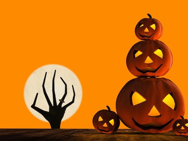 3d-rendering halloween-kürbis und zombie-hand steigt