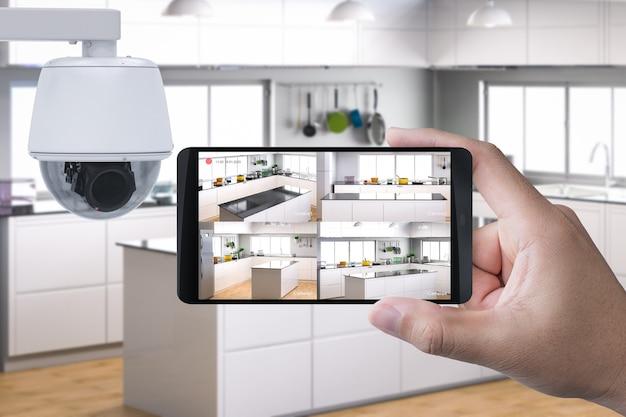 3d-rendering-handy mit überwachungskamera verbinden