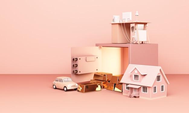 3d-rendering-haus, auto und arbeit mit einem offenen safe