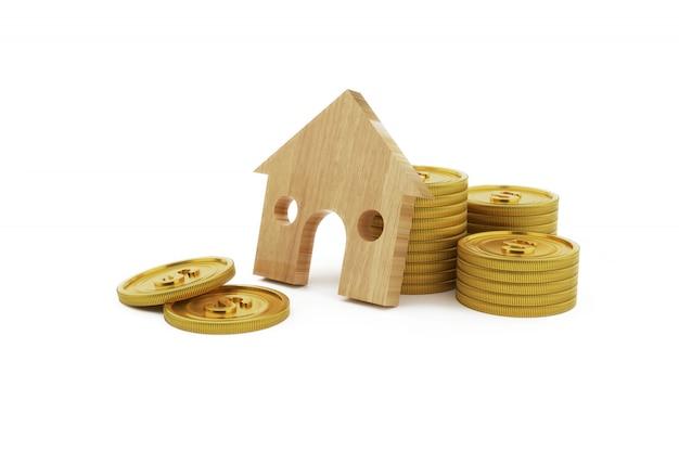 3d-rendering haus form figur und stapel von münzen. geschäfts-, finanz-, einsparungensgeld für hauptkonzept