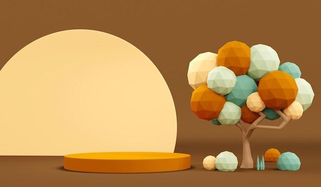 3d-rendering herbstfarbenthema podium produktanzeige in pastellfarben szene für werbung. 3d-darstellung.