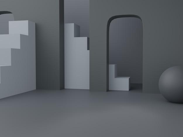 3d-rendering herren schwarz grau und weiß thema studio shot produkt display hintergrund mit zusammenfassung