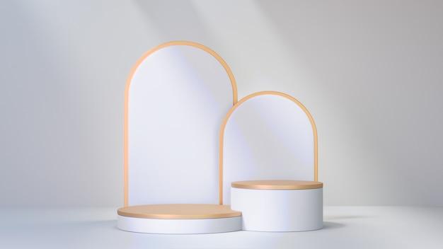 3d-rendering-hintergrund. bühnenpodium mit zwei goldenen weißen zylindern und abgerundeter rahmen zurück auf weißem hintergrund. bild zur präsentation.