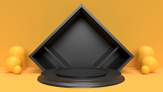 3d rendering hintergrund der abstrakten geometrischen, szene, podium, bühne und anzeige. gelbes und schwarzes thema.