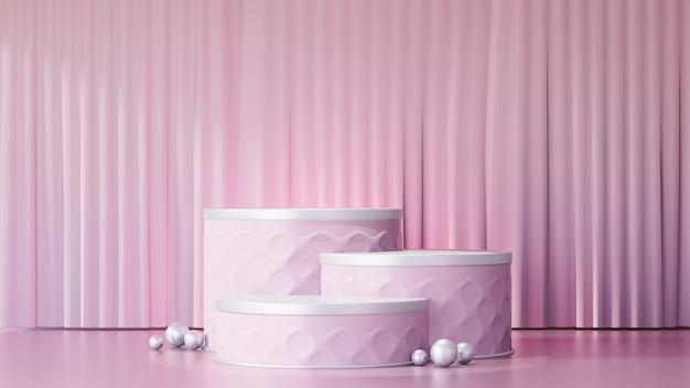 3d-rendering-hintergrund. drei rosafarbene bühnenpodeste mit einer hellrosa vorhangfassade. bild zur präsentation.