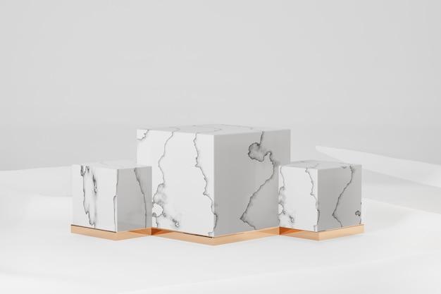 3d-rendering-hintergrund. drei weiße marmorwürfel vorbildliche geometrische form auf weißem stoffhintergrund. bild zur präsentation.
