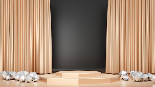 3d-rendering-hintergrund. goldenes bühnenpodest-display mit goldener schwarzer vorhangwand und silberner dreieckskugel. bild zur präsentation.