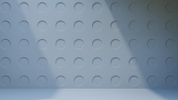 3d-rendering-hintergrund. grauer kreis grafische prägemusterwand mit sonnenlichtschatten. bild zur präsentation.