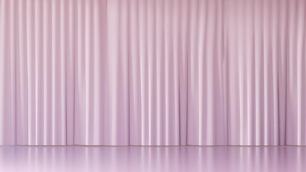 3d-rendering-hintergrund. leere bühnenlicht rosa vorhangfassade. bild zur präsentation.