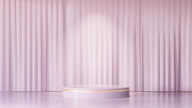 3d-rendering-hintergrund. roségoldene zylinderbühnen-podiumsprodukte und eine hellrosa vorhangfassade. bild zur präsentation.