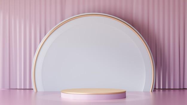 3d-rendering-hintergrund. rotgoldzylinder-bühnenpodium-display-produkte und große weiße kreisform und eine leichte rosa vorhangfassade bild zur präsentation.