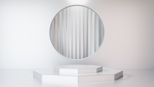 3d-rendering-hintergrund. weißes bühnenpodest-displayprodukt mit weißer wand und kreisförmigem rahmen mit weißem vorhang. bild zur präsentation.