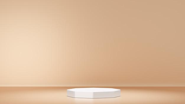 3d-rendering-hintergrund. weißes bühnenpodestprodukt mit einer sauberen goldwand. minimales bild für die präsentation.