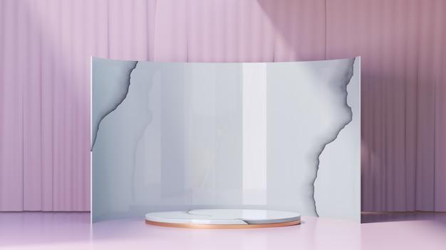 3d-rendering-hintergrund. weißes marmor-gold-zylinder-bühnenpodium und marmor-hintergrund zeigen produkte und eine hellrosa vorhangfassade. bild zur präsentation.