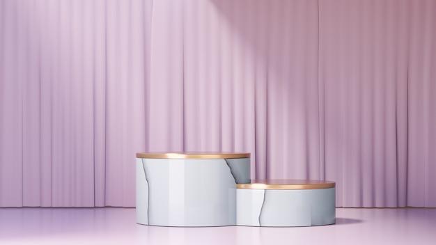 3d-rendering-hintergrund. weißes marmor-goldzylinder-bühnenpodium und eine hellrosa vorhangfassade. bild zur präsentation.