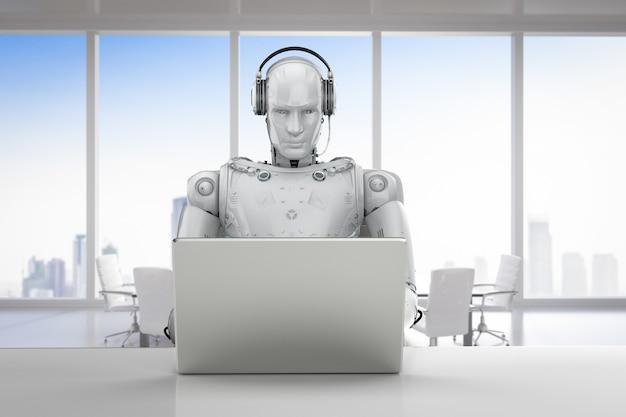 3d-rendering humanoider roboter, der mit headset und notebook arbeitet