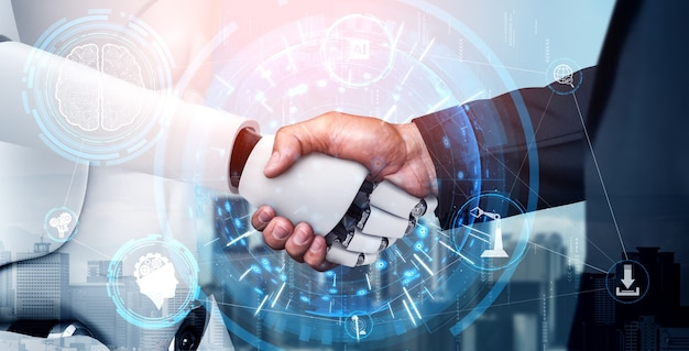 3d-rendering humanoider roboter-handshake für die zusammenarbeit mit zukünftigen technologien