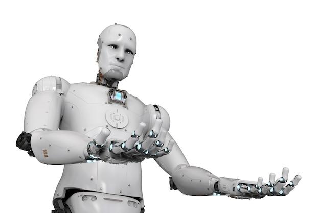 3d-rendering humanoider roboter offene hände auf weißem hintergrund